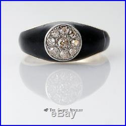 Vintage Mens Old Mine Cut Cluster Ring with Black Enamel in 14K Gold