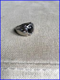 Vintage Mens Ring 10K White Gold Tiger's Eye & Diamond Size 8