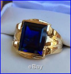 443d89e73467e Vintage Mens Ring | Vintage Mens Sapphire Ring 10k Yellow Gold Size ...