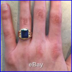 Vintage Mens Sapphire Ring 10k Yellow Gold Size 10.25