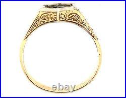 Vintage Mens Semi Mount Engagement Ring Setting 14K Yellow Gold Art Deco Antique