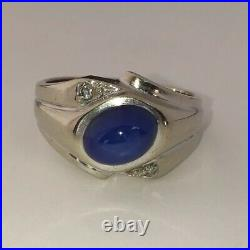 Vintage Mens Solid 14kt White Gold Star Blue Sapphire & Diamond Ring Size 9.5
