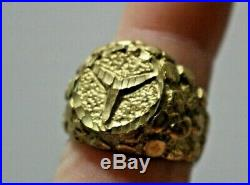 Vintage Mercedes Yellow Gold Nugget Mens Ring 9.5 14K 8 Grams