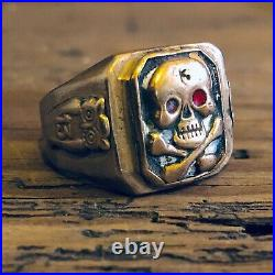 Vintage Mexican Biker Ring Skull Lucky 13 Owl Mexico Mens