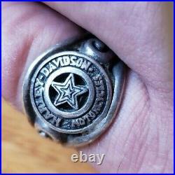 Vintage Mod Harley Davidson Fat Boy Star Biker Sterling Silver Ring 9g Size 7