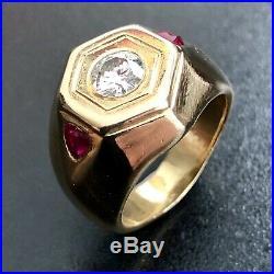 Vintage Moissanite Mens 14k Gold Ring Size 9