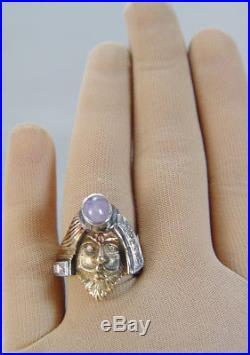 Vintage Mythology Face of Man Ring Ancient God Deity 14K Yellow Gold Rare
