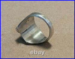 Vintage Native American Sterling Silver Turquoise Men's Ring Navajo Sz 10.5