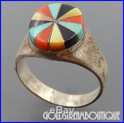 Vintage Navajo Signed Jl Sterling Silver Multi Gemstone Mosaic Inlay Men's Ring