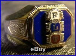 Vintage Odd Fellows FLT 10 K White Gold Enamel Shiny Size 10 Mens Ring