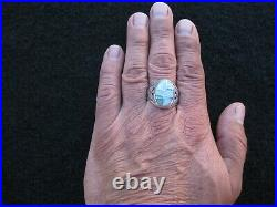Vintage Opal Sterling Silver Mens Thunderbird Ring Size 12 1/2