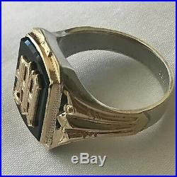 Vintage Ostby Barton 10 k Gold + Sterling Silver Onyx Signet Letter M Mans Ring