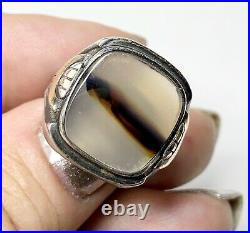 Vintage Picture Agate Ring. Sterling silver. Mid Century Jewelry. 1940s. Signet