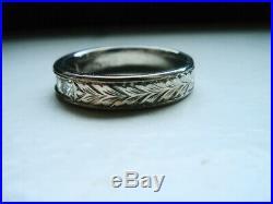 Vintage Platinum 1ct Vs/h Diamond Mens Wedding Band Ring Size 9.75 10.6gr