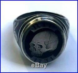 Vintage Rare Memento Mori Skulls Solid Silver & Enamel 1731`s RIP Men`s Ring