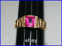 Vintage Resco 10K Yellow Gold & Topaz Stone Men's Ring Sz 12.25 12 1/4 5.2 Grams