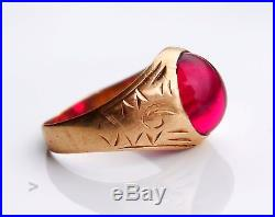Vintage Retro Men Ring solid 14K Rose Gold Ruby US 8.25 / 4.4