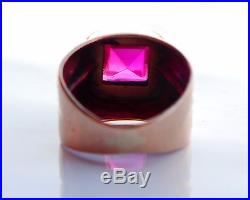 Vintage Retro Men Ring solid 14K Rose Gold Ruby US 9 / 11g