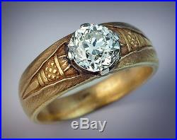 Vintage Russian Solitaire Diamond Gold Men's Ring