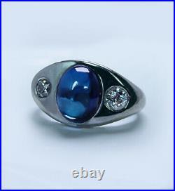Vintage Sapphire Old European Diamond Mens Ring 18K White Gold Estate