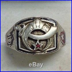 Vintage Shriners Masonic 14K Solid White Gold Men's Ring Size 9 1/4