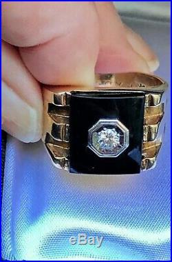 Vintage Signet Deco MANS RING Black Onyx 10k Gold Diamond Designer/Sgnd DASON
