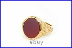 Vintage Signet Ring Men's Ring Carnelian Ruby in 18K Yellow Gold Over Sizable