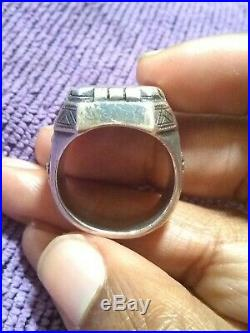 Vintage Silver/Gold Men's Mexican Biker Ring Solid Heavy 45 GRAMS! Holy Grail