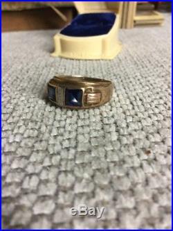 Vintage Size 10 Mens Estate 10K Gold Natural Oval Blue Sapphire  Ring 5.8 g