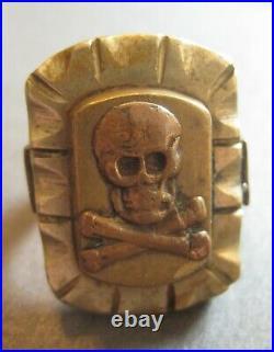 Vintage Skull Crossbones & Phoenix Biker Ring Size 11.5 Mexico