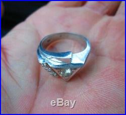 Vintage Solid 14K White Gold Men's Ring withDiamonds-NICE! -L@@K