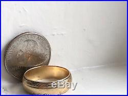 Vintage Solid 14k Gold Mens Wedding Band Ring Size 10