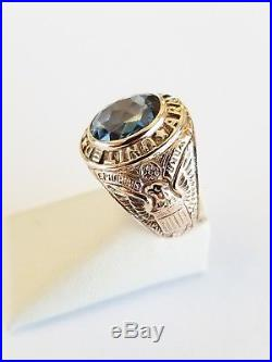 Vintage Solid 8k Yellow Gold US Army Infantry Men's Ring 14.7 Grams Size 7-1/8