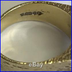 Vintage Solid 9ct Yellow Gold Men's Bark Effect Signet Ring Size N 1/2