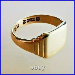 Vintage Solid Gold Signet Pinky Ring, Hallmarked. 375 Chester 1937, Free P&P #mB