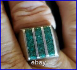 Vintage Southwestern Turquoise and Sterling Silver Men's Ring SZ 10 Unique