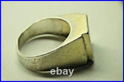 Vintage Sterling Silver 925 Mens Green Stone Jade Ring