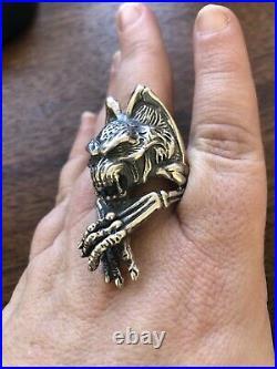 Vintage Sterling Silver Marked 925 Mens Huge Monster Bat Biker Ring Size 12.5