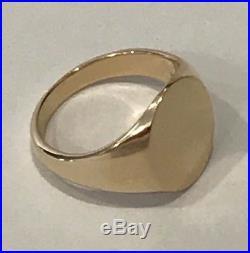 Vintage Tiffany & Co. 14K Yellow Gold Plain Oval Men's Signet Ring Size 9.75