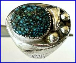 Vintage Turquoise Native American Heavy 24.4gr Men's Ring Sterling Size 8.75