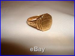 Vintage Very Old Custom Made 14k Gold Mens Signet Pinky Td Monogram Ring Size 11