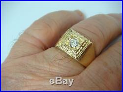 Vintage Yellow Gold 0.33 Ct Diamond Men's Solitaire Ring, 5.6 Grams, Size 9.5