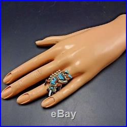 Vintage ZUNI Sterling Silver RAINBOW MAN Turquoise & Coral Inlay RING, size 8.5
