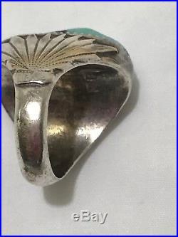 Vintage Zuni Robert Leekya Sterling Silver Navajo Turquoise Mens Ring