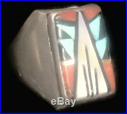 Vintage Zuni Turquoise Lapis Native American Men Sterling Silver Ring Size 10.75
