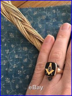 Vintage masonic Men's ring Gold Style Bismarck North Dakota Lodge 5 Sz 8