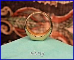 Vintage men's 14K yellow gold natural blue sapphire diamond ring sz 8