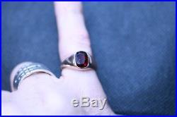 Vintage mens 9ct rose gold garnet signet ring size m 1/2 2.2 grams