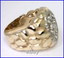 Vintage mens diamond nugget ring 14K gold round brilliant. 95CT 14.2 GM sz 9 3/4