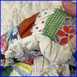 Vintage quilt hand sewn blanket coverlet wedding double ring floral 52x66 twin